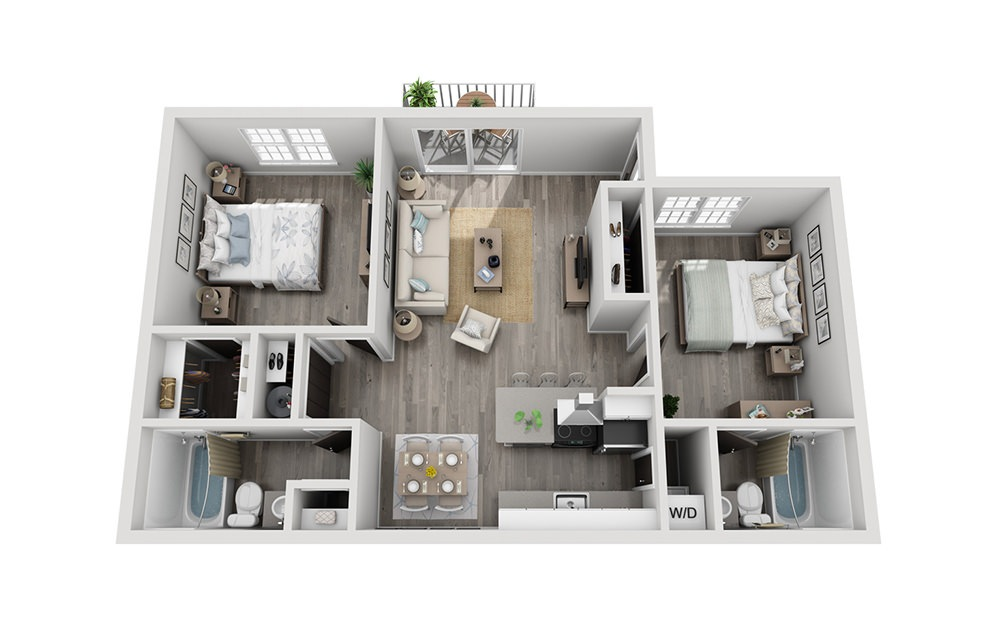 Bay Breeze Elite - 2 bedroom floorplan layout with 2 baths and 872 square feet.